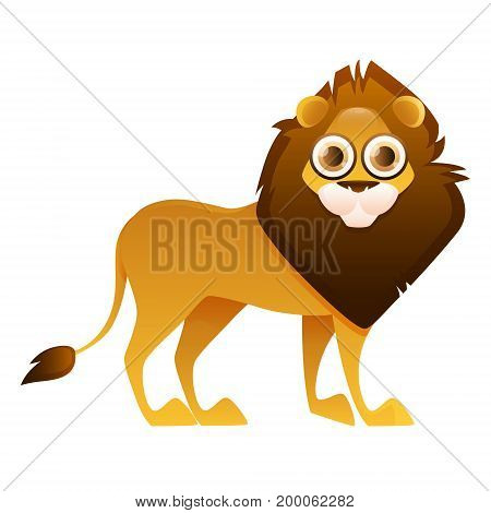 Lion cute cartoon character isolated on white background. Vector illustration