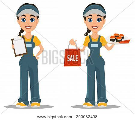 Courier woman with sushi and with blank clipboard. Professional fast delivery. Set. Cute cartoon character. Vector illustration.