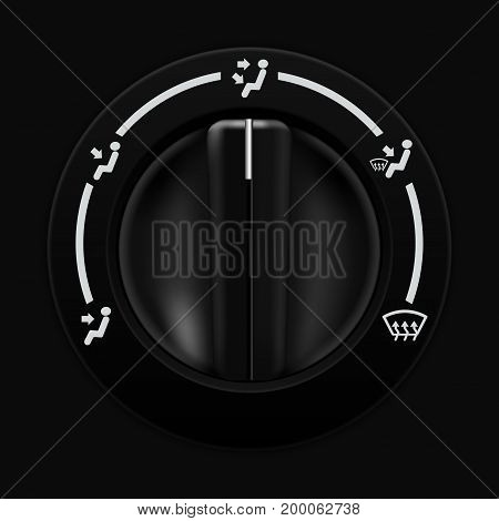 Air flow selector. Car dashboard black switch. Vector illustration