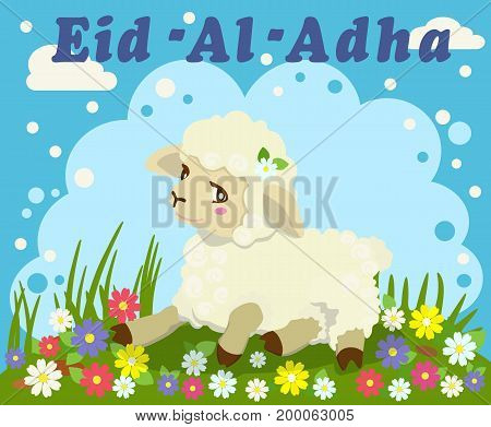 Vector greeting color card with beautiful sheep, lamb to religious Islamic festival of sacrifice Eid Al Adha Mubarak or Bakrid Mubarak. Graphic design decoration of flyers, cards.