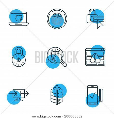 Editable Pack Of Confidentiality Options, Internet Surfing, Finger Identifier And Other Elements.  Vector Illustration Of 9 Security Icons.
