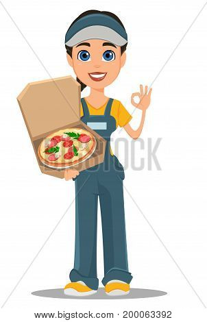 Courier woman holding tasty hot pizza and showing ok sign. Professional fast delivery. Cute cartoon character. Vector illustration.
