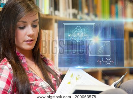 Digital composite of Female Student studying with book and science education interface graphics overlay