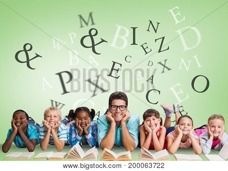 Digital composite of Many letters around Multicultural Kids reading with teacher