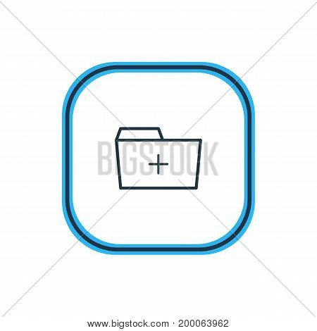 Beautiful Folder Element Also Can Be Used As Plus  Element.  Vector Illustration Of Add Outline.