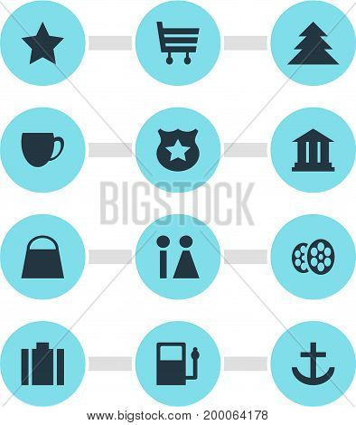 Editable Pack Of Bookmark, Briefcase, Handbag Elements.  Vector Illustration Of 12 Check-In Icons.
