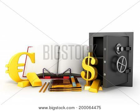 Concept Of School And Education Economy Safe Notebook Book Of Gold Bullion Currency Signs 3D Render