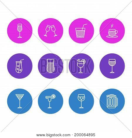 Editable Pack Of Margarita, Draught, Beverage And Other Elements.  Vector Illustration Of 12 Beverage Icons.