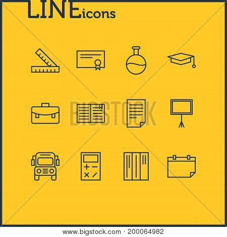 Editable Pack Of Textbook, Paper, Date And Other Elements.  Vector Illustration Of 12 Education Icons.