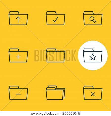 Editable Pack Of Pinned, Folders, Submit And Other Elements.  Vector Illustration Of 9 Dossier Icons.