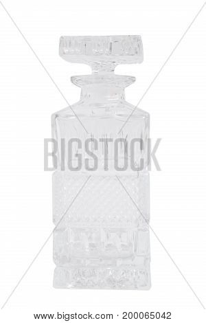 Glass transparent clean empty single shiny beautiful stylish carafe with a plug on isolated white background.