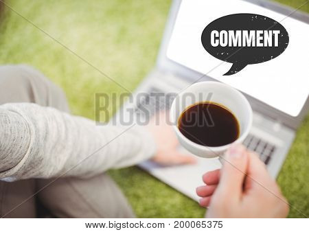 Digital composite of Comment text and chat graphic on laptop screen with coffee