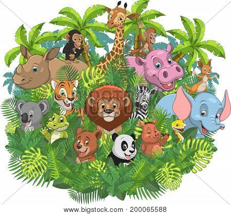 Vector illustration of a set of funny exotic animals in the wild in the jungle