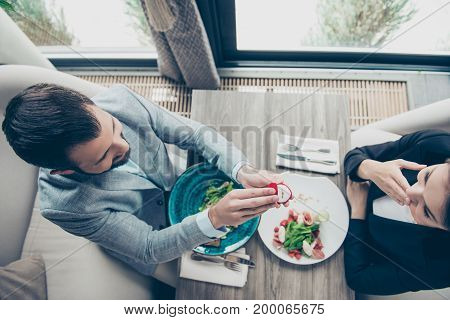 High Angle Top View Of Romantic Brunet Bearded Guy, Proposing To His Shocked Brunette Lover, They Ar