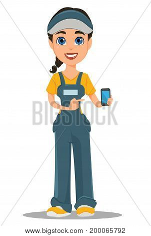 Courier woman holding smartphone. Professional fast delivery. Cute cartoon character. Vector illustration.