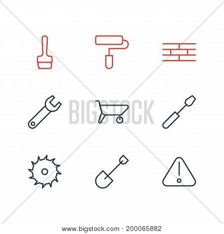 Editable Pack Of Barrier, Roller, Handcart Elements.  Vector Illustration Of 9 Industry Icons.
