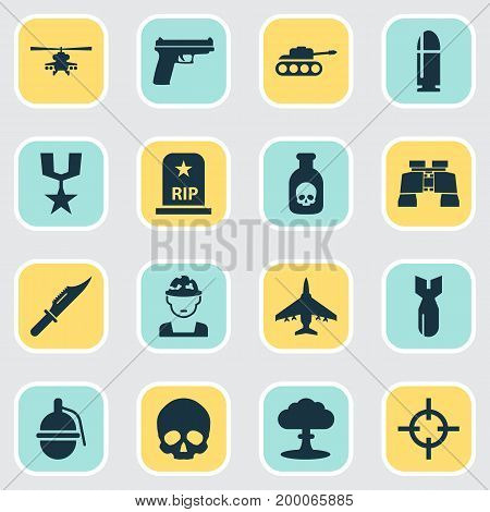 Army Icons Set. Collection Of Slug, Aircraft, Order And Other Elements