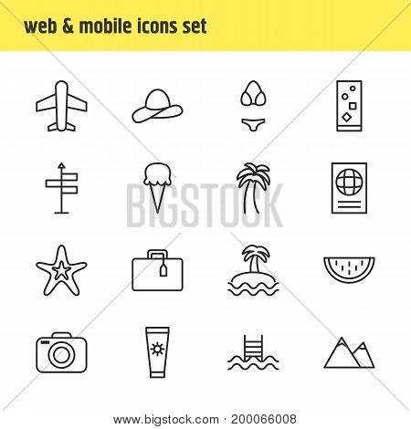 Editable Pack Of Fish, Suitcase, Anti-Sun Cream And Other Elements.  Vector Illustration Of 16 Summer Icons.