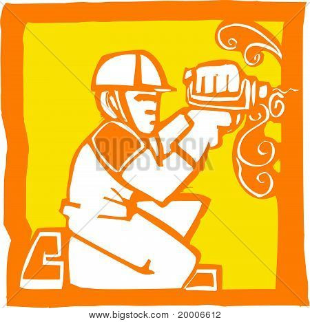Workman with Drill