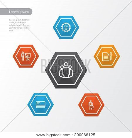 Job Outline Icons Set. Collection Of Bank Card, Business Presentation, Businessman And Other Elements