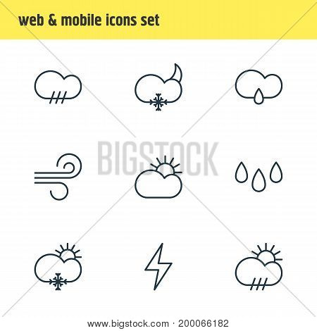 Editable Pack Of Rainy, Rain, Sun And Other Elements.  Vector Illustration Of 9 Weather Icons.