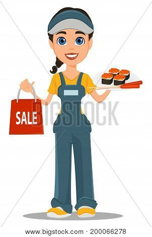 Courier woman holding sushi chopsticks and paper bag for sale. Professional fast delivery. Cute cartoon character. Vector illustration.