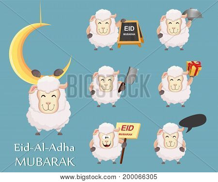 Festival of sacrifice Eid al-Adha. Traditional muslin holiday. Set of funny sheep. Vector illustration