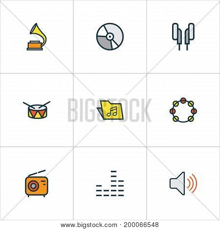 Audio Colorful Outline Icons Set. Collection Of Volume, Headphones, Circle And Other Elements