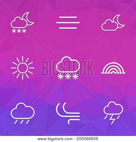 Weather Outline Icons Set. Collection Of Rain, Night, Snowfall And Other Elements