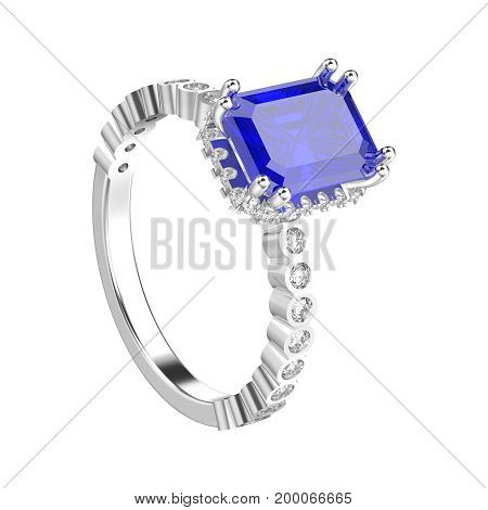 3D illustration isolated white gold or silver diamonds decorative ring on a white background