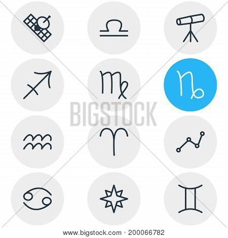Editable Pack Of Favorite, Water Bearer, Geometric And Other Elements.  Vector Illustration Of 12 Galaxy Icons.