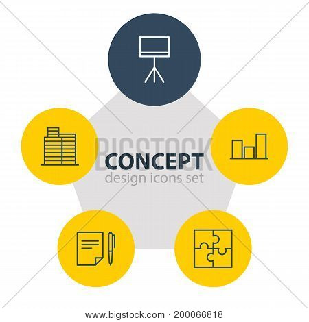 Editable Pack Of Riddle, House, Graph And Other Elements.  Vector Illustration Of 5 Business Icons.