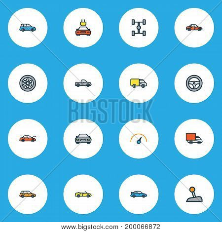 Auto Colorful Outline Icons Set. Collection Of Sedan, Sport, Electric And Other Elements