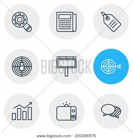 Editable Pack Of Discount Label, Statistics, Aiming And Other Elements.  Vector Illustration Of 9 Advertising Icons.