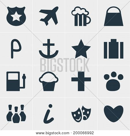 Editable Pack Of Masks, Cop, Briefcase And Other Elements.  Vector Illustration Of 16 Location Icons.