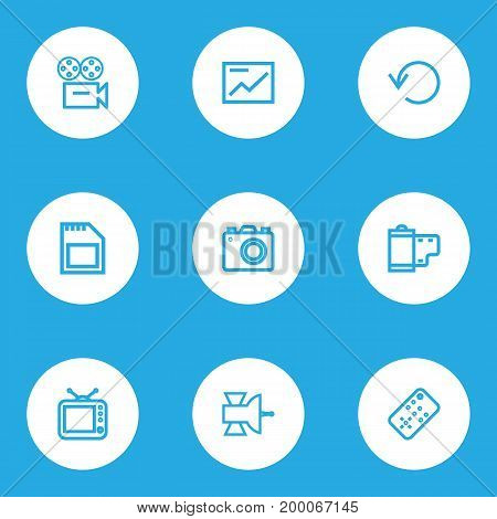 Multimedia Outline Icons Set. Collection Of Memory, Communication Antenna, Chart And Other Elements
