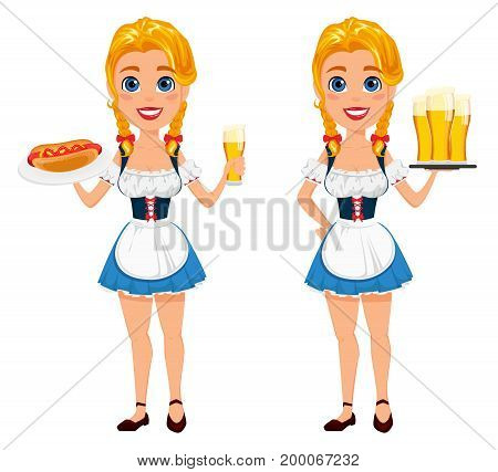 Oktoberfest vector illustration with sexy redhead girl holding beer and hot dog and standing with three pints of beer. Can be used for poster invitation banner.