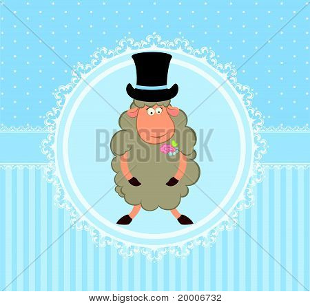 Cartoon sheep groom on the background of the decorative frame vector
