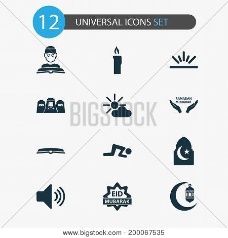 Holiday Icons Set. Collection Of Person, Mubarak, Religion And Other Elements