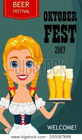 Oktoberfest vector illustration with sexy redhead girl holding three pints of cold beer. Usable for poster invitation banner.
