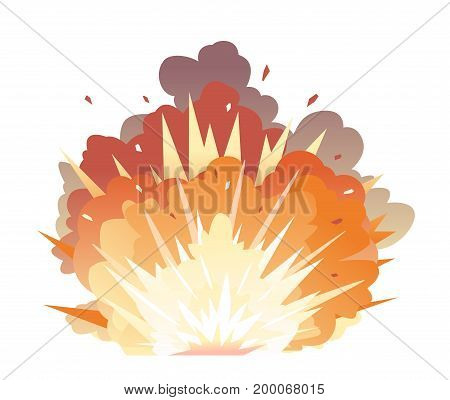 Big cartoon bomb explosion with shrapnel and fireball in warm colors, isolated