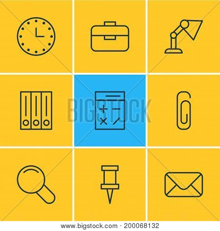 Editable Pack Of Paperclip, Watch, Calculate And Other Elements.  Vector Illustration Of 9 Stationery Icons.
