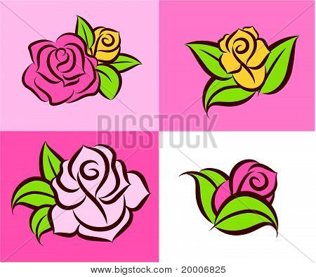 Illustration of different variants of beautiful roses in the framework. Vector