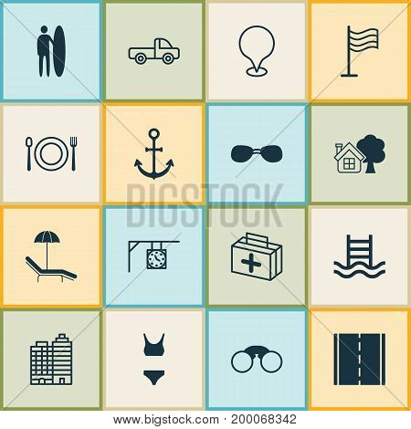 Travel Icons Set. Collection Of Bathing Costume, First Aid Bag, Surf-Board And Other Elements
