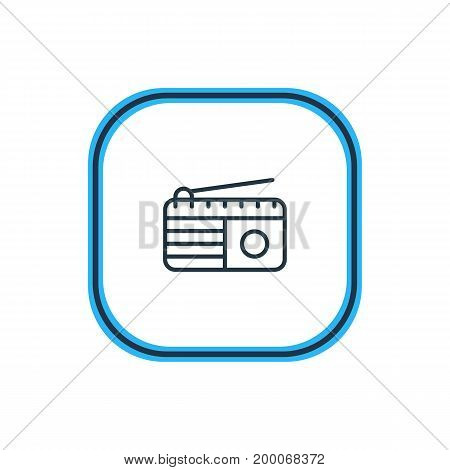 Beautiful Advertising Element Also Can Be Used As Fm Broadcasting Element.  Vector Illustration Of Radio Outline.