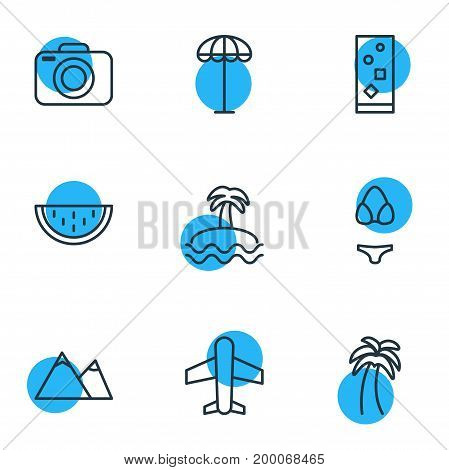 Editable Pack Of Palm, Umbrella, Hill And Other Elements.  Vector Illustration Of 9 Summer Icons.