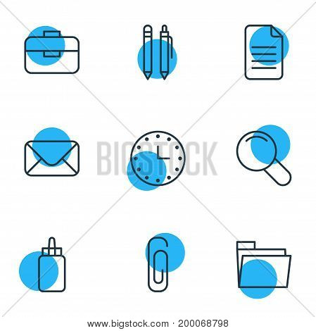 Editable Pack Of Zoom, Folder, Portfolio And Other Elements.  Vector Illustration Of 9 Tools Icons.