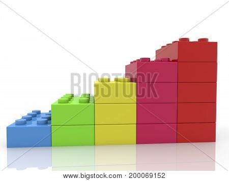 Toy bricks in rows on white . 3D illustration