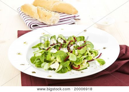 Fresh Salad With Bread And Dressing.