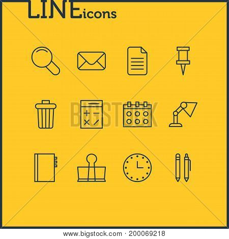 Editable Pack Of Folder, Watch, Letter And Other Elements.  Vector Illustration Of 12 Tools Icons.
